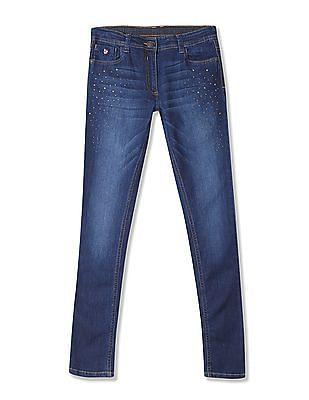 U.S. Polo Assn. Kids Girls Dark Wash Studded Jeans