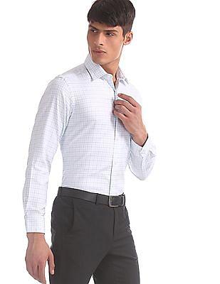 Arrow Blue Mitered Cuff Check Shirt