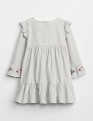 GAP Baby Grey Embroidered Stripe Bell-Sleeve Dress
