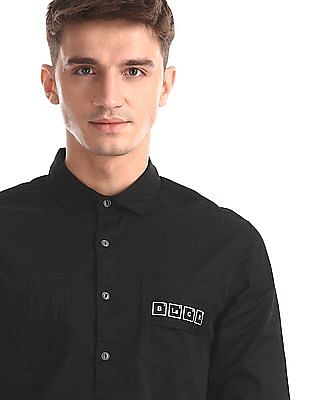 Colt Black Spread Collar Solid Shirt