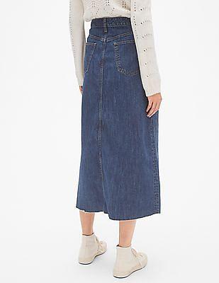 GAP High Rise Denim Midi Skirt With Raw Hem
