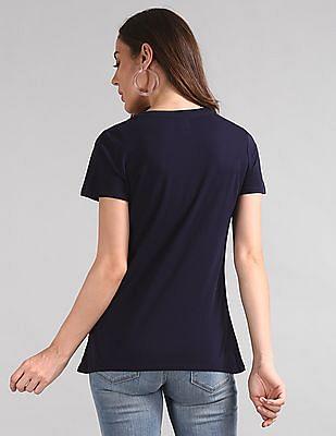 GAP Women Blue Embroidered Logo Crewneck T-Shirt