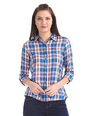 U.S. Polo Assn. Women Spread Collar Check Shirt