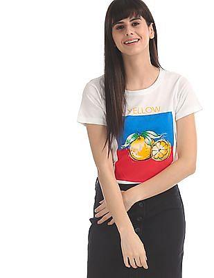 SUGR White Round Neck Graphic T-Shirt