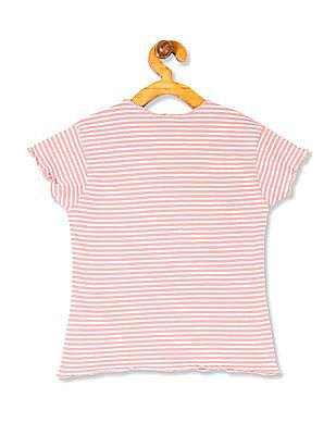 Cherokee Girls Striped Sequin Embellished T-Shirt