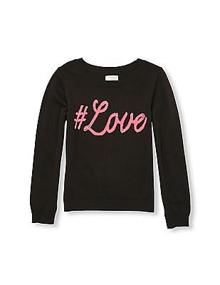 The Children's Place Girls Long Sleeve Embellished Graphic Sweater