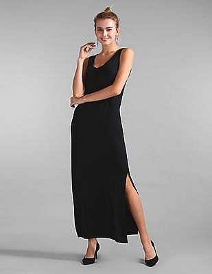GAP Women Black Column Maxi Dress