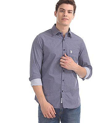 U.S. Polo Assn. Blue Round Cuff Printed Shirt