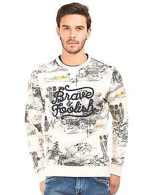 Flying Machine Crew Neck Printed Sweatshirt