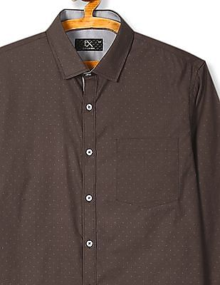 Excalibur Mitered Cuff Tonal Pattern Shirt