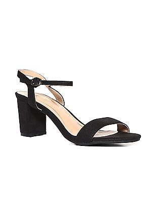 Stride Black Block Heel Ankle Strap Sandals