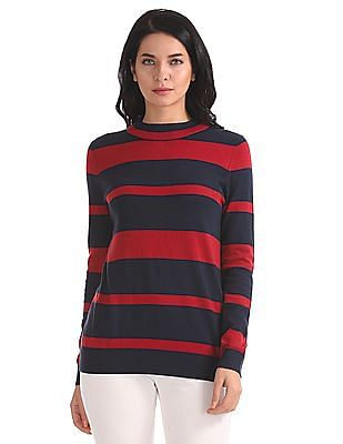 U.S. Polo Assn. Women Regular Fit Patterned Striped Sweater
