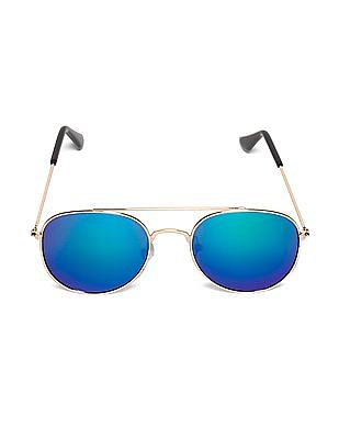 Unlimited Gold Boys Round Frame Mirrored Sunglasses