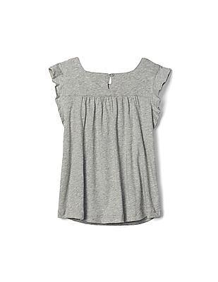 GAP Girls Grey Crochet Lace Keyhole Top