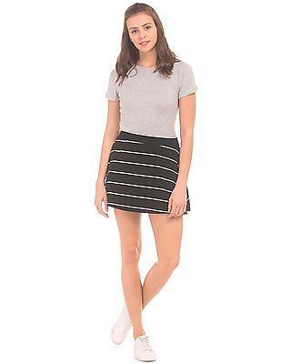 SUGR Flared Hem Striped Skirt