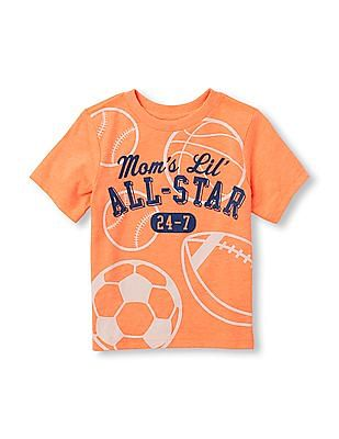 The Children's Place Toddler Boy Orange Short Sleeve 'Mom's Lil' All-Star 24-7' Sports Graphic Tee
