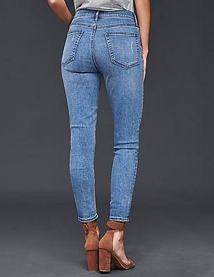GAP Women Blue Stretch 1969 True Skinny High Rise Jeans