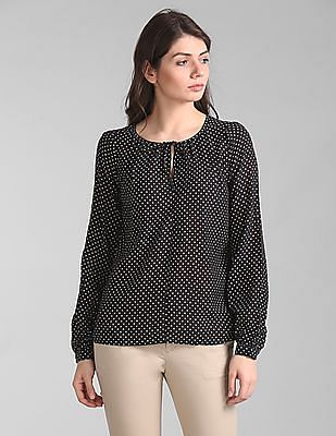GAP Long Sleeve Print Split-Neck Blouse Top