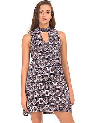 Aeropostale Band Neck Printed Swing Dress