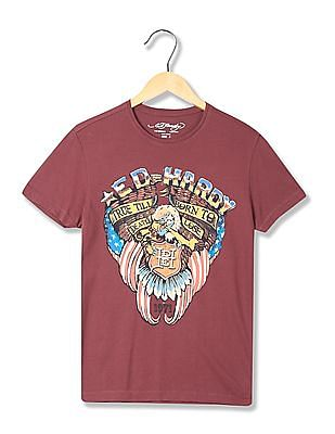Ed Hardy Printed Front Crew Neck T-Shirt