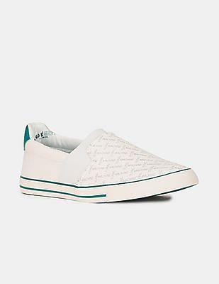 Flying Machine Men White Brand Print Layered Slip On Shoes