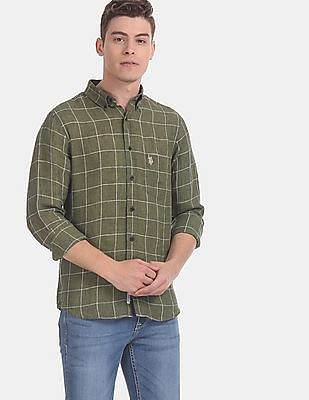 U.S. Polo Assn. Men Green Check Linen Casual Shirt