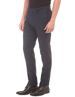 Flying Machine Patterned Weave Super Slim Fit Trousers