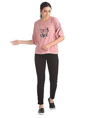 Elle Studio Round Neck Embellished T-Shirt