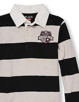 The Children's Place Boys Long Sleeve Rugby Striped Polo