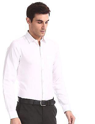 Excalibur White Slim Fit Patterned Shirt