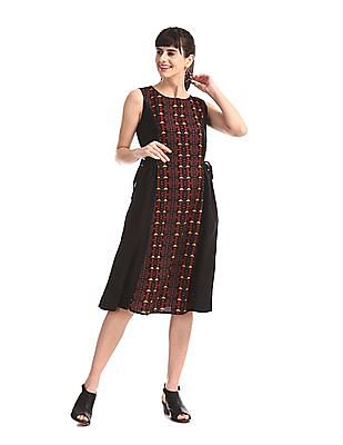 Bronz Black Printed Panel Sleeveless Dress