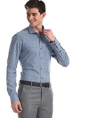 Arrow Newyork Blue Slim Fit Checked Shirt