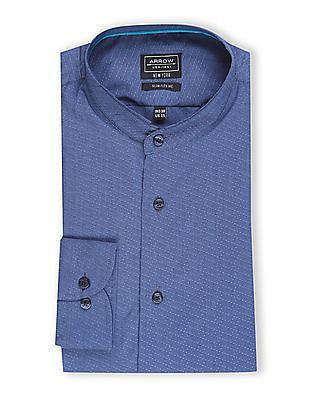 Arrow Newyork Blue Mandarin Collar Patterned Shirt