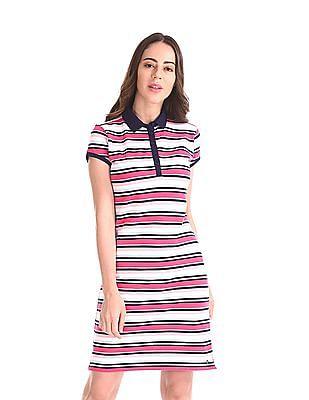 U.S. Polo Assn. Women Short Sleeve Striped Polo Dress
