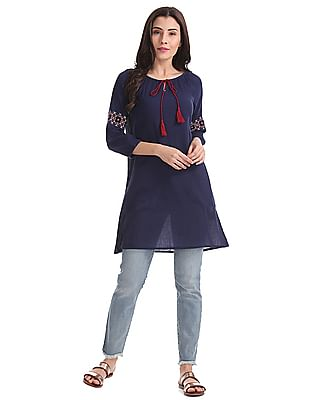 Bronz Contrast Embroidered Tunic