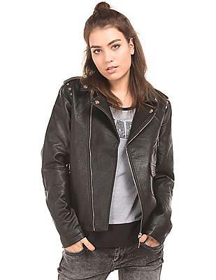 EdHardy Women Grained Regular Fit Biker Jacket