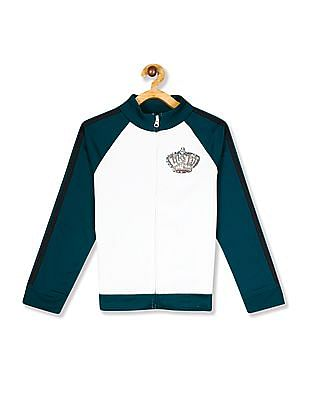 The Children's Place White Girls High Neck Colour Block Jacket
