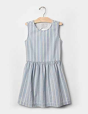 GAP Girls Blue 1969 Stripe Denim Tank Dress