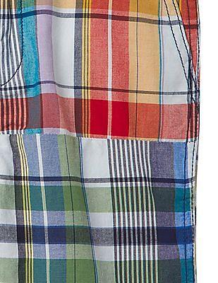 GAP Boys Multi Colour Patchwork Plaid Shorts