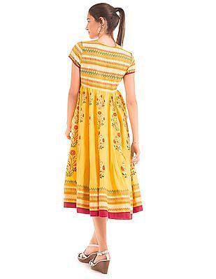 Bronz Umbrella Cut Printed Dress