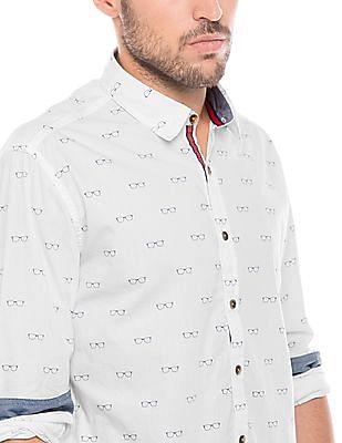 Flying Machine Regular Fit Spectacles Print Shirt
