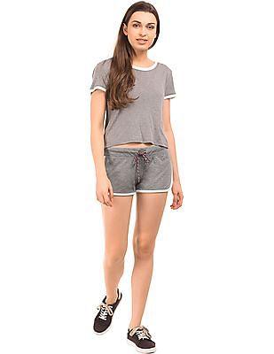 Aeropostale Contrast Trim Heathered Shorts