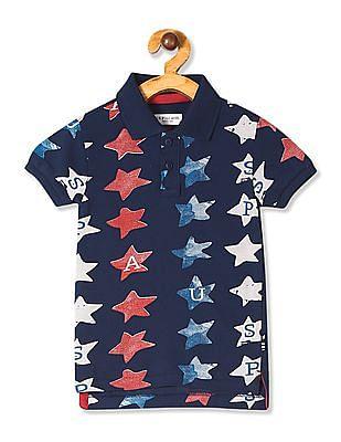 U.S. Polo Assn. Kids Blue Boys Printed Pique Polo Shirt