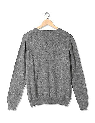 Izod Ribbed Neck Patterned Front Sweater
