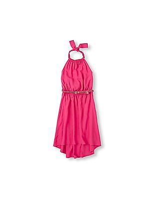 The Children's Place Girls Halter Belted Hi-Low Dress