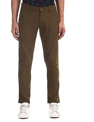 Ruggers Green Tapered Fit Textured Trousers