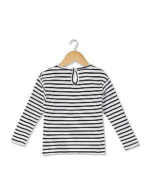 Cherokee Girls Striped Appliqued T-Shirt