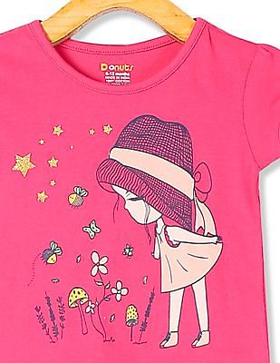 Donuts Pink Girls Round Neck Printed T-Shirt