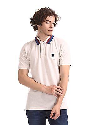 U.S. Polo Assn. White Heathered Pique Polo Shirt