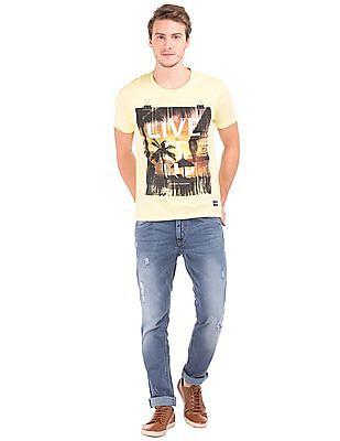 Flying Machine Sunset Print Cotton T-shirt